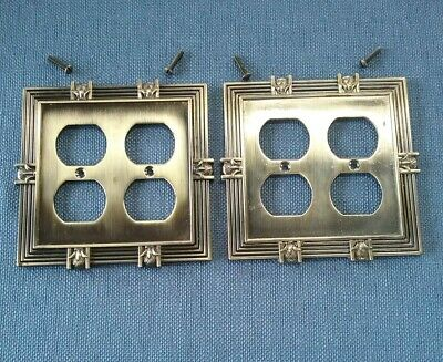 Pair of Brass Colored Metal Double Outlet Covers Nice Design LHMC 2005