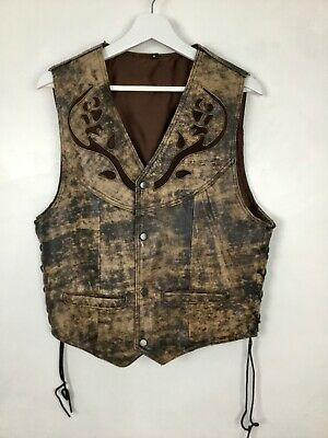 Mens  Motorcycle Waistcoat size S Carved Leather Biker Protection COW FINISH