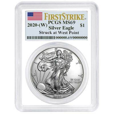 2020 (W) $1 American Silver Eagle PCGS MS69 First Strike Flag Label White Frame