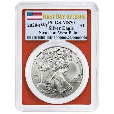2020 (W) $1 American Silver Eagle PCGS MS70 FDOI Flag Label Red Frame