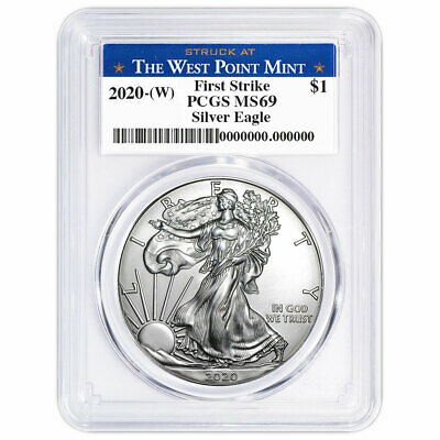 2020 (W) $1 American Silver Eagle PCGS MS69 First Strike West Point Label