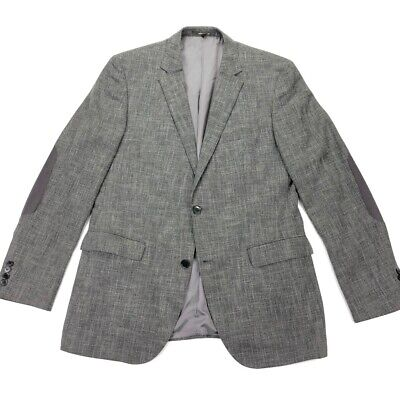 HUGO BOSS Recent The Smith1 Blazer Jacket Elbow Patches Tweed/Woven Gray 42L