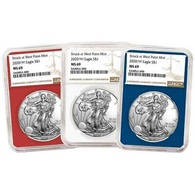 2020 (W) $1 American Silver Eagle 3 pc. Set NGC MS69 Brown Label Red White Blue
