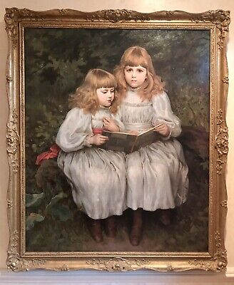 George Harcourt Sephton (1868-1947) Life-Size Portrait of Two Young Girls, O/C