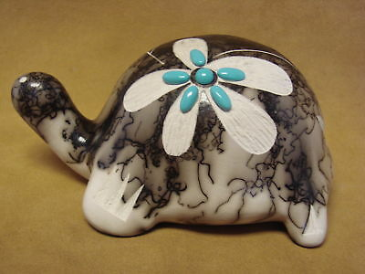 Native American Pottery Turtle Sculpture by Vail! Navajo Horse Hair sculpture Po