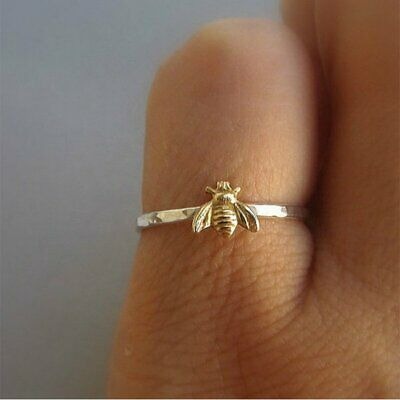 Simple Tiny Gold Bee Finger Rings Band Stacking Ring Wedding Anniversary Jewelry