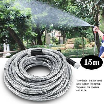 15M Flexible Hose Pipe Water Spray Head Stainless Steel Non-Kink Watering Tube