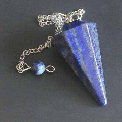 L15223 Faceted Lapis pendulum point pendant for necklace with bead chain 1.4''