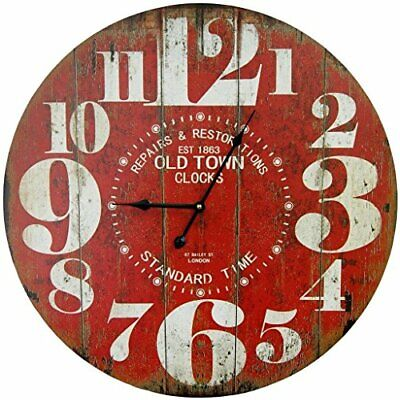 Round Red Decorative Wall Clock with Big Numbers and Distressed Old Town face