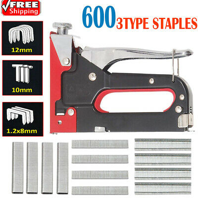 3 In 1 Staple Nail Gun Hand Tool Upholstery Fabric Wood Cable Tacker 600 Staple