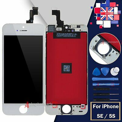 Screen White For iPhone SE 5S LCD Display Touch Digitiser + Frame Replacement UK
