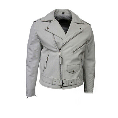 Men,s Brando Classic Biker Fitted Designer Style White Cowhide Leather Jacket