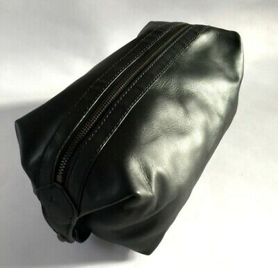 Men's Polo Ralph Lauren 100% Leather Toiletry/Wash Bag Black Gift RRP £125