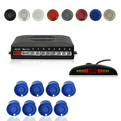 Car Auto Vehicle Backup Front Rear LED Radar System 8 Parking Sensors Kit - Blue