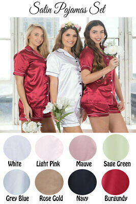 Womens Ladies Satin Pyjama Set Silky Summer Lounge wear Pajamas Short sleeve pjs