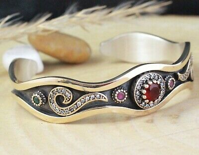 925 Sterling Silver Handmade Authentic Turkish Ruby Bracelet Bangle Cuff