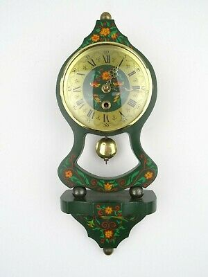 Dutch Vintage NUFA Antique Hindeloopen Folklore Wall Clock (Warmink Wuba era)