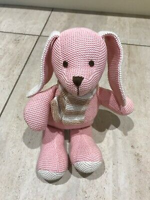 Tiny Treasures Pink Bunny Rabbit Soft Cotton Knitted Cuddly Baby Toy  New