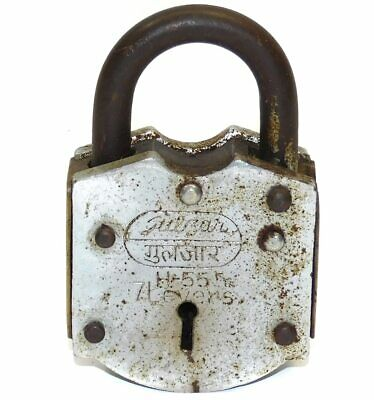 Vintage Gulzar H-55 India 7 Lever Steel Padlock - 4 Inch Lock Without Key