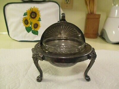 FB Rogers Silver Co. Silverplate Butter Dish Roll Up Lid w/Glass Insert~ Lions