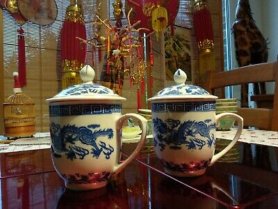 Pair of Vintage Chinese Lidded Chocolate Cups Mugs Blue Dragon Porcelain China