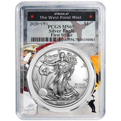 2020 (W) $1 American Silver Eagle PCGS MS69 First Strike West Point Frame