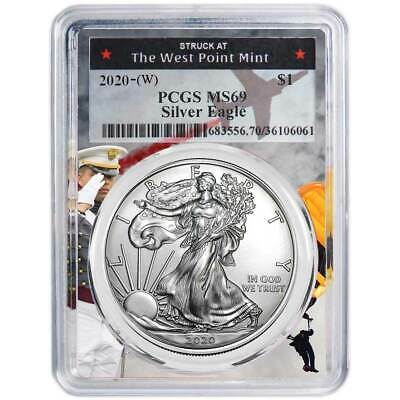 2020 (W) $1 American Silver Eagle PCGS MS69 West Point Frame