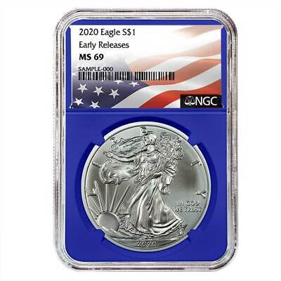 2020 $1 American Silver Eagle NGC MS69 Flag ER Label Blue Core