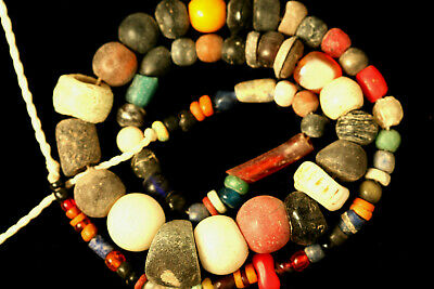 Ancient Egyptian Beads, Gandhara Beads, Decorated Beads, Schist Stone Beads Mix