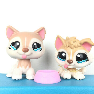 Authentic Littlest Pet Shop Lot 1012 + 1013 Husky Dog Baby Puppy and Mom LPS