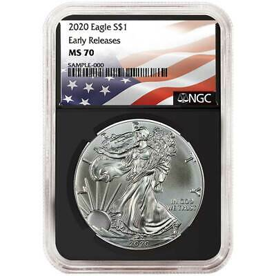 2020 $1 American Silver Eagle NGC MS70 Flag ER Label Retro Core