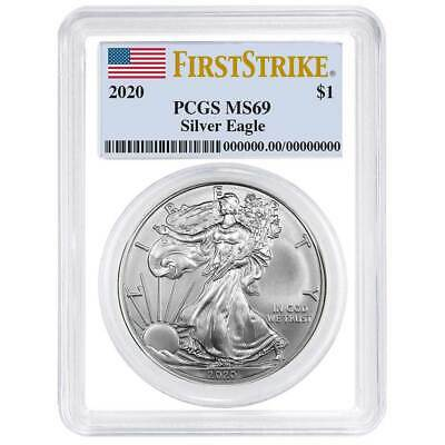 2020 $1 American Silver Eagle PCGS MS69 First Strike Flag Label White Frame