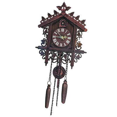 European Style Cuckoo Clock Hand-carved Wood Wall Clock Kids Room Office Decor