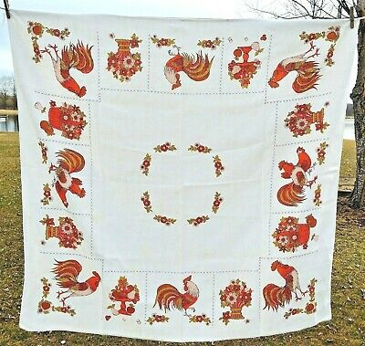 """Vintage Tablecloth Rooster Orange and Brown 50"""" x 50"""""""