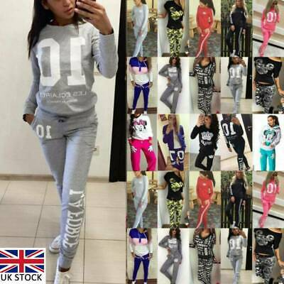 New Womens Tracksuits Set Ladies Slim Joggers Active Sport Loungewear Size
