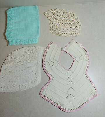 Vintage Hand Made Hand Crochet Infant Baby Doll Hat Off-White CREAM Adorable Hat