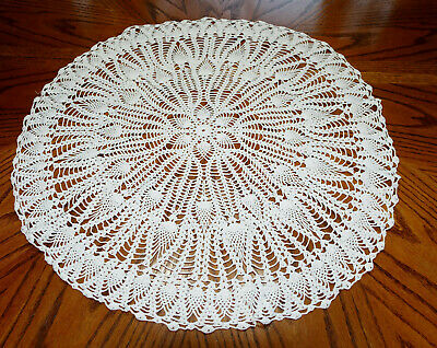 """Vintage Hand Made Hand Crochet Doily Table Scarf WHITE 24"""" Round"""