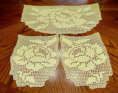 Vintage Hand Made Hand Crochet Doily Table Scarf YELLOW Set of 3 ROSES