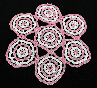 """Vintage Hand Made Hand Crochet Doily Table Scarf White & Pink 9 1/2"""" Round"""