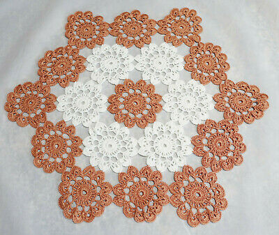 """Vintage Hand Made Hand Crochet Doily Table Scarf WHITE RUSTY CORAL 16.5"""""""