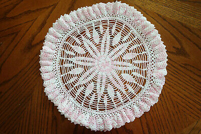 """VTG Hand Made Hand Crochet Doily Table Scarf PINK WHITE 15"""" Round Double Ruffle"""
