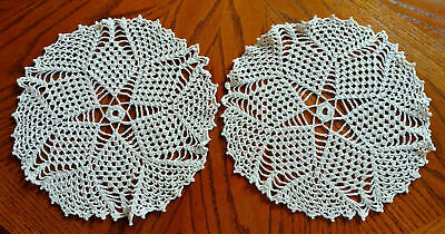 """Vintage Hand Made Hand Crochet Doily Table Scarf TAN ECRU 12"""" Round"""