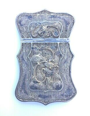 19th C. Chinese Serpentine Edge Solid Silver Filigree Calling Card Case