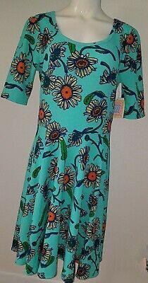 NWT LuLaRoe Nicole Light Green Daisy Sunflower Dress XL Floral Yellow Orange
