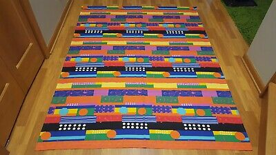 Awesome RARE Vintage Mid Century retro 80s wild colorful abstract curtain fabric