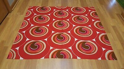 Awesome RARE Vintage Mid Century retro 70s red swirl circle drop fabric! LOOK!!