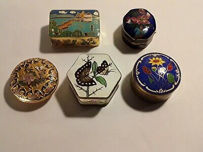 Antique Vintage Chinese Enamel Box Lot 5 Cloisonne Canton Snuff Pill Boxes