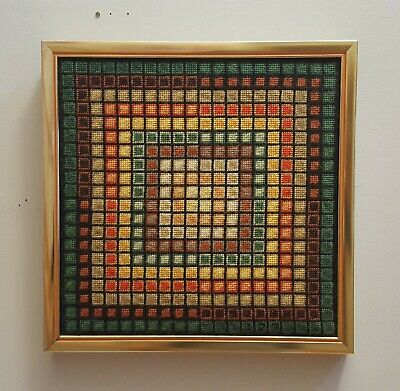 Awesome RARE Vintage Mid Century retro 70s op art Vasarely like needlepoint! WOW