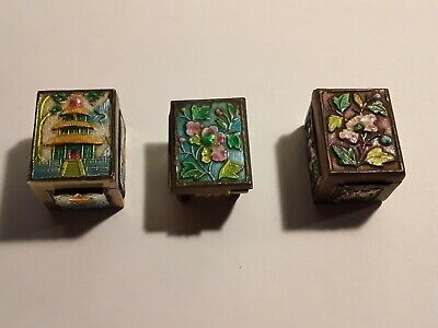 Antique Chinese Enamel Stamp Box Collection Lot