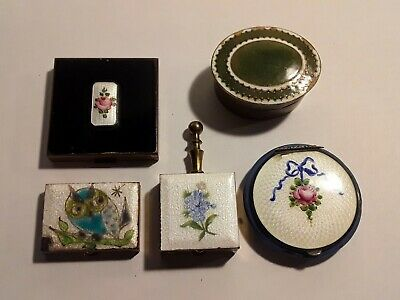 Antique Guilloche Enamel Compact and Box Collection Lot